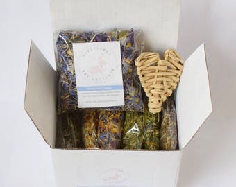 Hay Topper Complete Sample Collection - Dry Herbs and Flower Treats for Rabbits, Rabbit food, Bunny treats Australia, guinea pig treats,