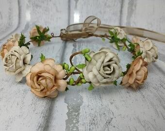 Earthy tone flower crown, hair garland, hair wreath, flower garland, festival hair, boho chic, floral circlet, roses, UK, rustic rose crown