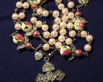 Pink glass pearls St. Benedict catholic rosary - handmade