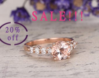 SALE!!!! 20% OFF-Pink Morganite engagement ring with diamond,Solid 14k Rose gold wedding ring size 6.5-7,special full cut diamond