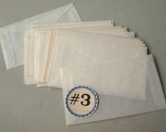 Vintage Glassine Envelopes Size 3 Translucent Paper Unused (25)