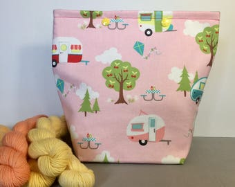 Vintage Glamping Knitting Project Bag - Snap GoGo