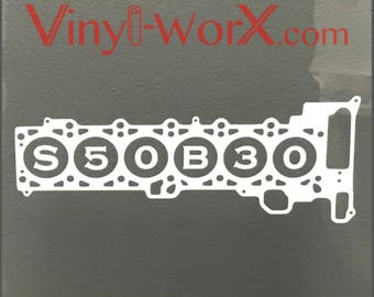 "Engine Block decal sticker BMW S50 S50B30 E36 M3 OBD1 Cast Iron turbo race Inline 6-Cyl Six Cylinder Automotive Funny 4"" 6"" 8"" 10"" 12"""