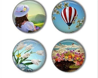 Springtime Fun magnets or pins, spring magnets buttons pins, flower magnets pins, refrigerator magnets, fridge magnets, office magnets