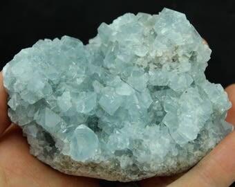 Celestite / Celestine Geode (392 grams, Madagascar) Natural Blue Crystal Cluster, Large High Quality Blue Anhydrite Specimen #CELES30