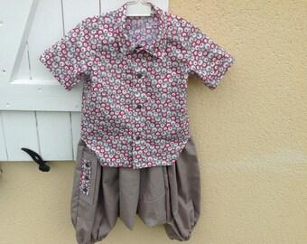 Beige sarouel and shirt set