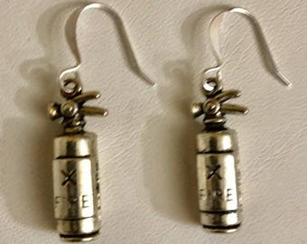 Silver Filled Fire Extinguisher Earrings