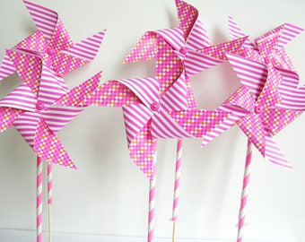 Paper pinwheels 5 pieces. Pink pinwheels. Marriage-Birth, children's party