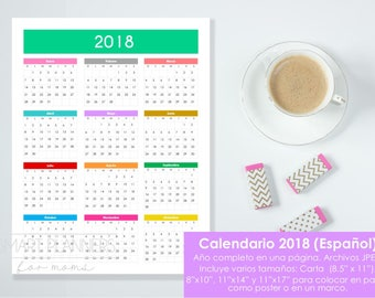 "Calendario 2018 para imprimir. Tamaños: carta 8.5""x11"", 8x10, 11x14, x11x17. Calendario de pared. 2017 Calendar in Spanish. Instant download"