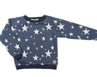 Heather blue hoodie with white stars