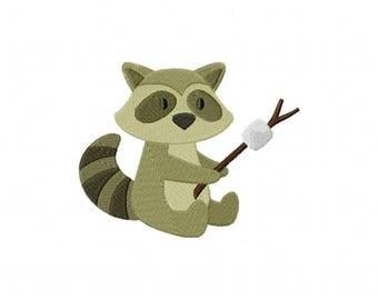 Raccoon roasting marshmallow embroidery design