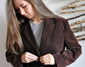 Velvet coat 1990s 1980s vintage womens dark brown casual spring autumn jacket