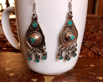 kuchi earrings,boho earrings, turquoise earrings, vintage style earrings, tassel earrings, ethnic tribal earrings, gift for her