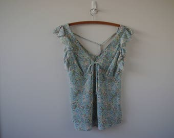 Vintage Womens Floral Baby blue Blouse
