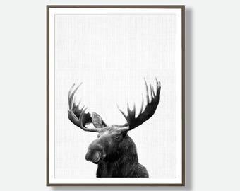 Moose Poster, Moose Decor, Forest Animal Prints, Forest Wall Art, Black and White Moose, Instant Printable Download, Digital Download Moose