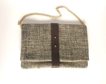 NEW! Wool fabric and brown leather handbag