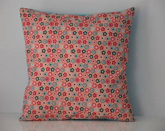 Cover of Pillow - double sided - 40 x 40 cm - hippie style flower print fabric - shades pink and turquoise