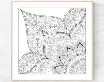 Mandala Section Coloring Page 8.5 x 8.5 inch