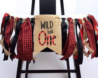 Wild One banner / Wild and one  / Wild one high chair banner / Wild one Birthday / One Banner / Lumberjack birthday / First birthday banner