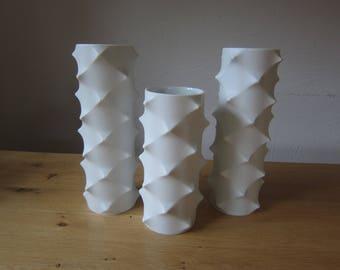 Vintage 70s jester Porcelain trio vases Op art design biscuit vase