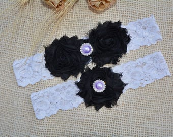 Black Wedding Garter Set Bridal White