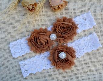 Brown Wedding Garter, White Garter Set, Brown Garter, Bridal Set, Chocolate Garter, Plus Size Garter, Brown Bridal Garter, Tossing Garter