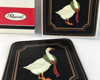 Vintage Pimpernel Coasters, Christmas Goose Coasters, Pimpernel Coaster, Set of Six Coasters, Christmas Coasters, Pimpernel Decor