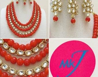 Necklace,Earrings and Tikka Set (Orange Beads)