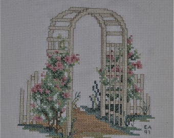 FInished Cross Stitch Gate and Flowers