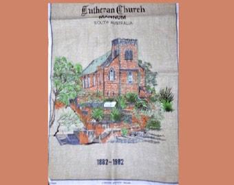 Vintage 1982 Lutheran Church of Mannum South Australia 1882 - 1982 Tea Towel Souvenir