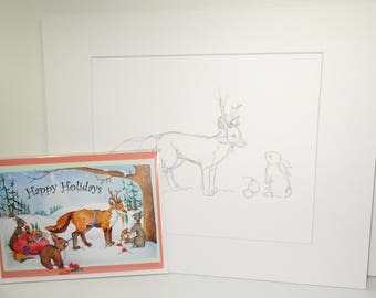 original sketch fox and rabbit graphite sketch matted original art with fox greeting card holiday card