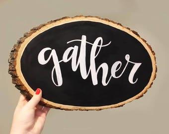 Gather Large Wood Slice - Black