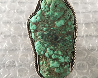 Fabulous Huge Vintage Navajo/Native American Turquoise and Silver ring