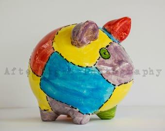 Child Piggy Bank Photograph, Child, Child Home Decor,
