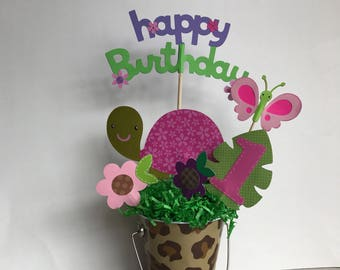 Turtle baby shower Centerpiece, Pink turtle birthday party, woodland animals centerpiece, turtle themed party decor, turtle centerpiece .