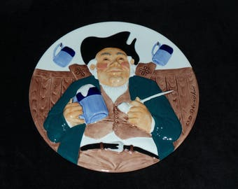 """1984 Davenport Original Toby """"Toby Fillpot"""" 3D Hand Painted Collector Plate by Wilfred Blandford"""