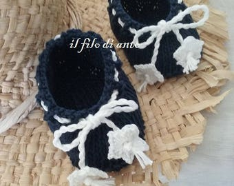 Blue cotton ballerina shoes and white flowers
