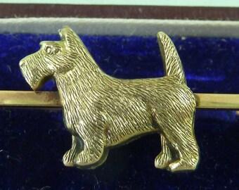 Gold Art Deco Scottie Dog / Highland Terrier 9 Carat Pin / Bar Brooch