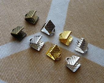 6mm Cord End Caps, Ribbon Crimp Ends, Metal Crimp Ends, Ribbon Clamps, Leather Clamps, Cord End Clasp, Cord End Crimps
