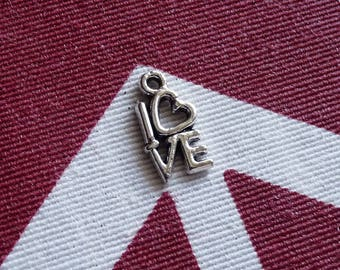 Love Charms, Heart Charms, Tiny Love Bracelet Charms, Necklace Pendants Charms, Open Heart Charms, DIY Jewelry Making