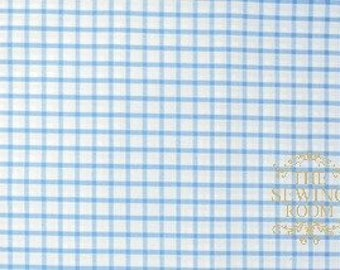Pima Pastel Classics Blue Check Fabric - By Spechler-Vogel Textiles - 100% PIMA Cotton - Window Pane Check