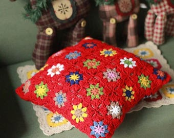 Gorgeous traditional style hand crocheted granny squares cushion cover
