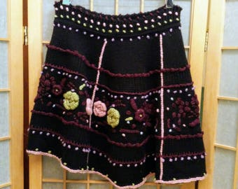 Knit Floral Sweater Skirt
