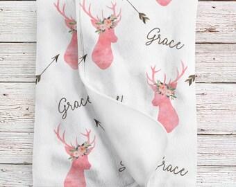 Deer baby blanket personalized, Woodland blanket, Personalized baby girl blanket (BB229)