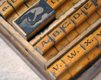 Rubber Stamp Set, Vintage Stamping Set, Wood Stamps, Alphabet Stamps, Paper Stamping, Vintage Stamp Blocks, Tacoma Washington, Art Supplies