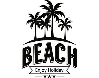 Summer Logo 6 Beach Nature Sun Surf Paradise Tropical Island Palm Tree