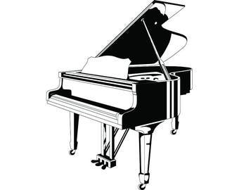 Piano #2 Grand Electric Sheet Musician Music Musical Instrument Keys Classical Logo .SVG .EPS .PNG Digital Clipart Vector Cricut Cut Cutting