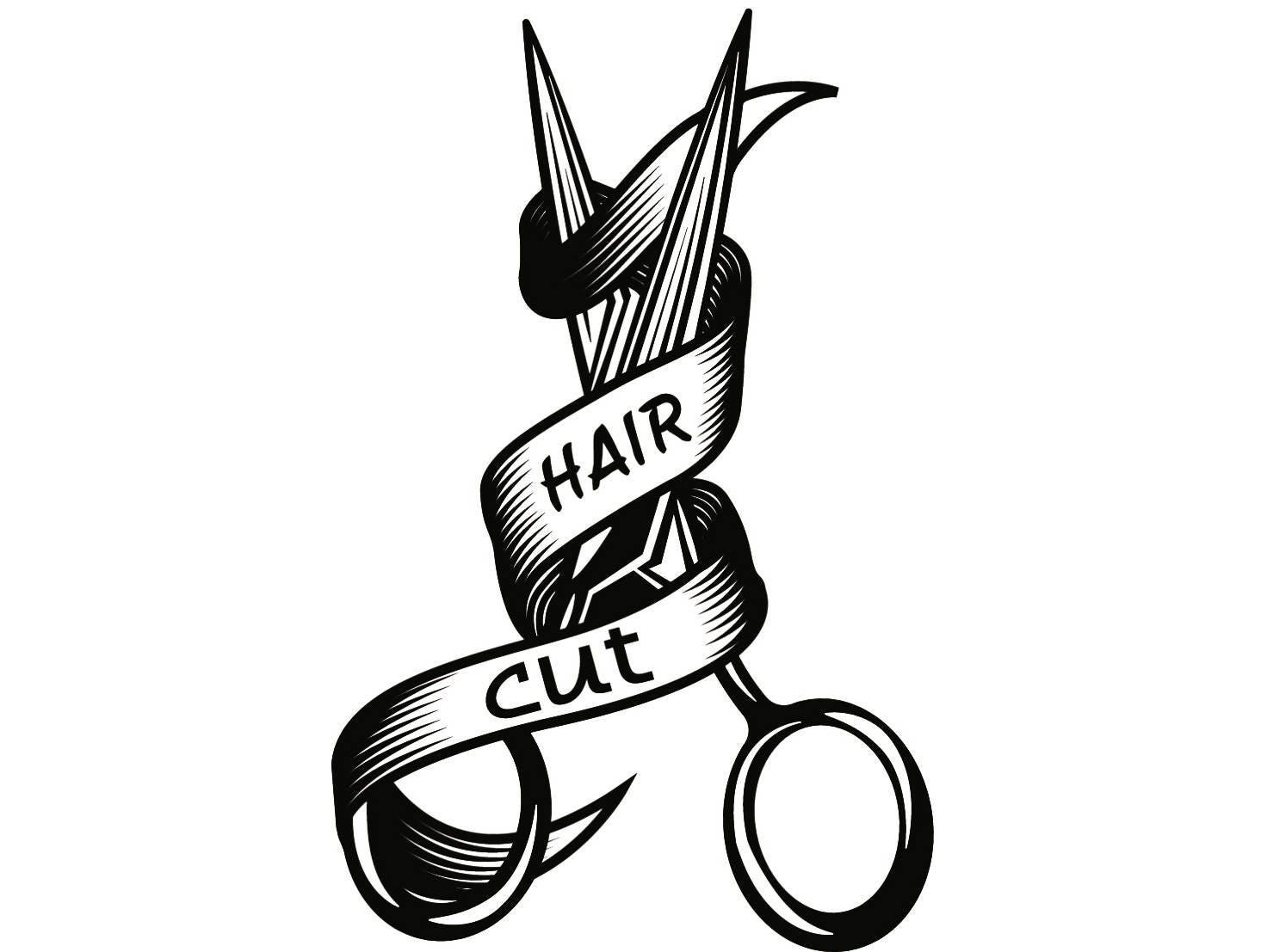 Hairstylist Logo 3 Scissors Salon Barber Shop Haircut