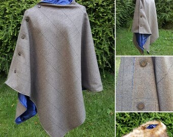 Tweed cape poncho in sage brown tweed / navy lining. free shipping