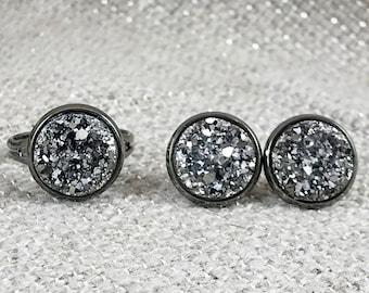 Gunmetal Druzy Jewelry Set - Druzy - Gunmetal Earrings - Gunmetal Ring - Druzy Earrings - Druzy Ring - Gunmetal Jewelry - Drusy - Gift Set